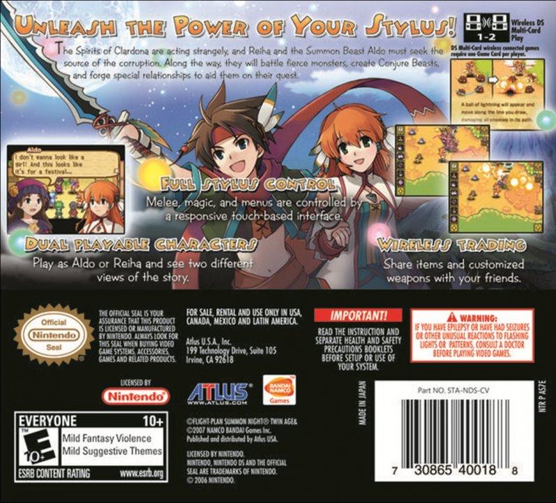 Nintendo Ds Summon Night Twin Age The Schworak Site